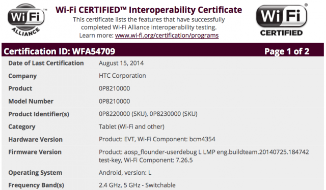 HTC Flounder WiFi Certification
