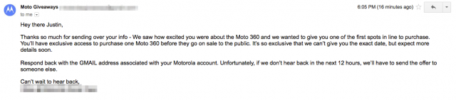 Motorola Moto 360 early access email