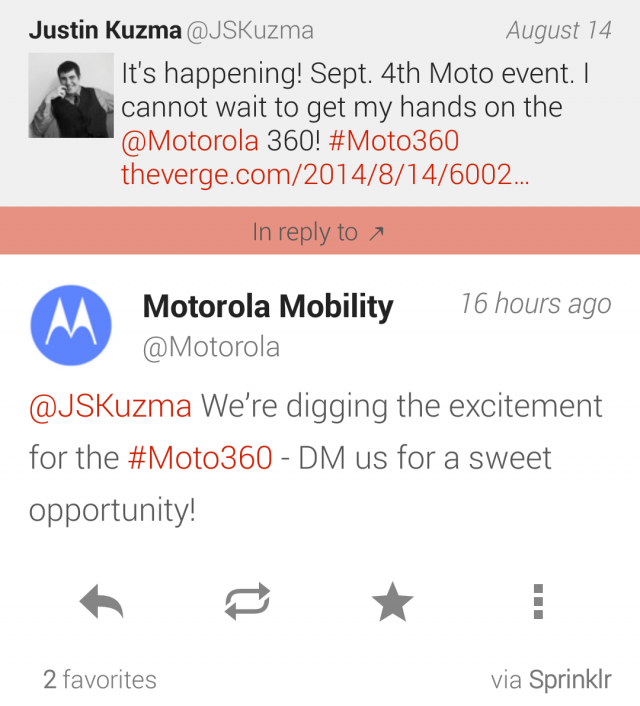 Motorola Twitter DM Moto 360 early access