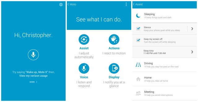 Moto X 2014 assist actions voice display