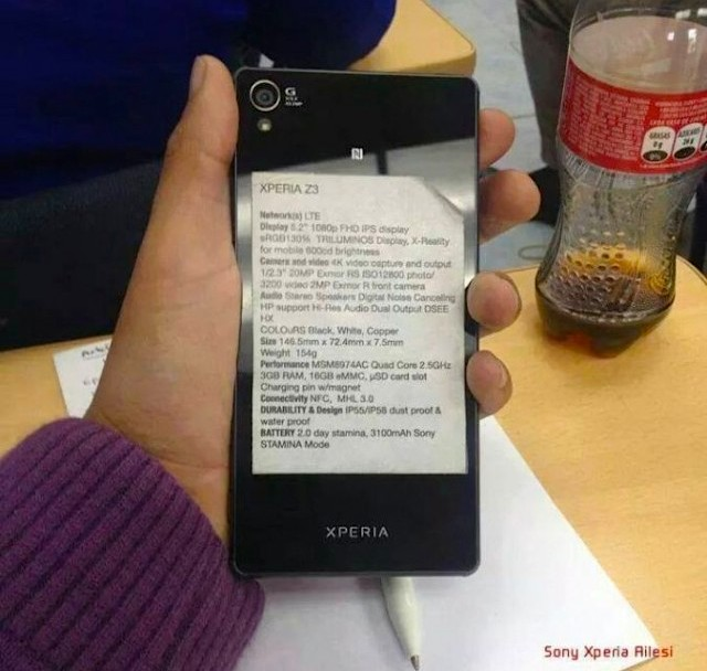 Sony Xperia Z3 specs sticker leak