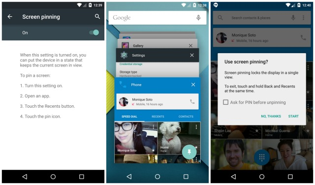 Android 5.0 Lollipop Screen pinning