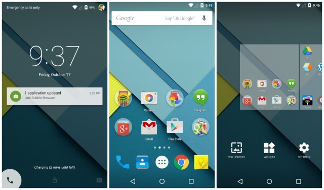Android 5.0 Lollipop lockscreen homescreen