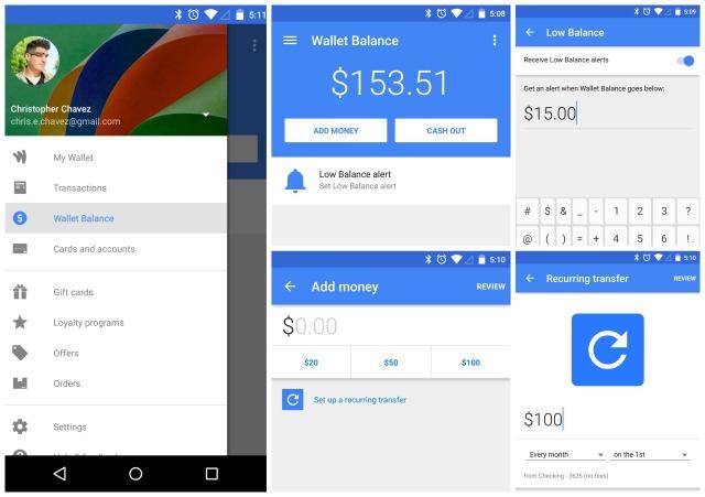 Google Wallet update 7.0 low balance alert recurring transfer