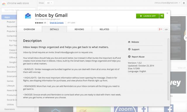 Inbox by Gmail Chrome app