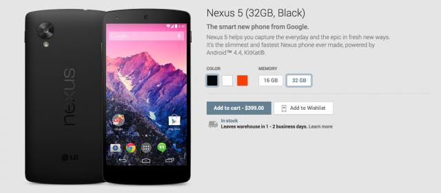 Nexus 5 Google Play listing
