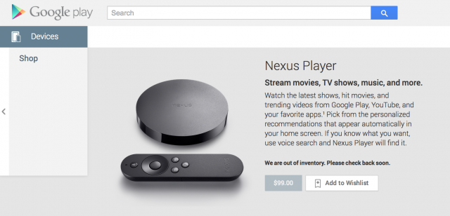 Nexus Player Google Play