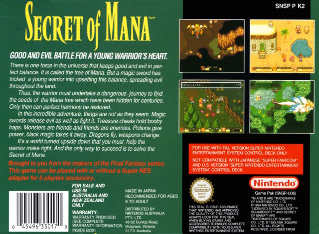 Secret of Mana cover back