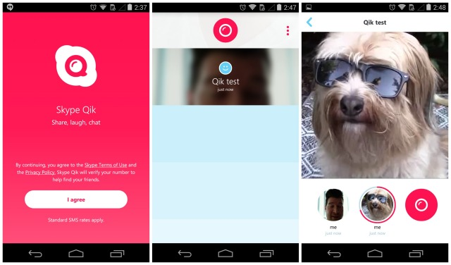 Skype Qik new screenshots