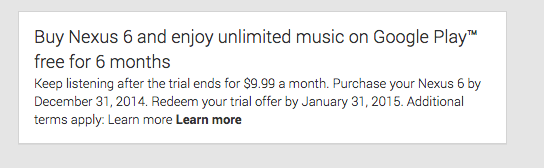 google play music nexus 6 offer