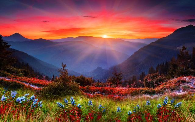 Mountain Sunset Wide Desktop Background