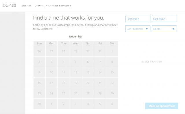 Google Glass Basecamp appoinments
