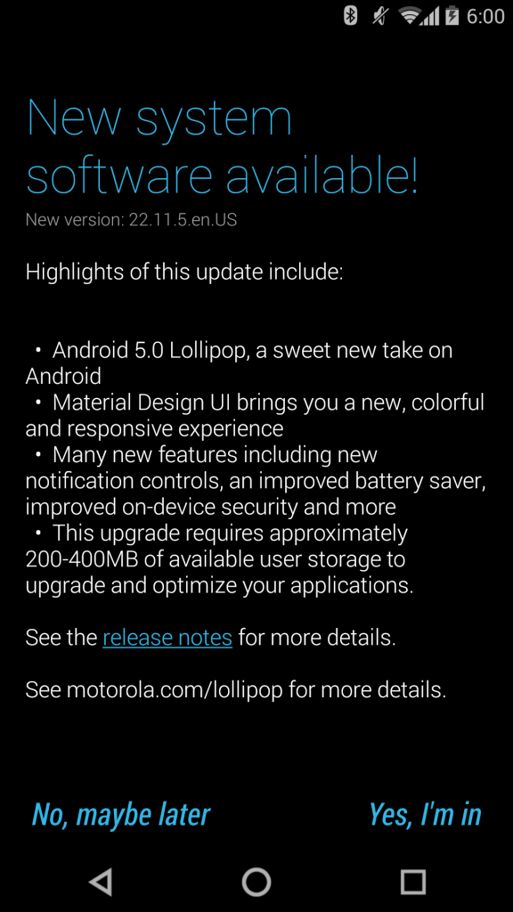 Moto X 2014 Android 5.0 Lollipop