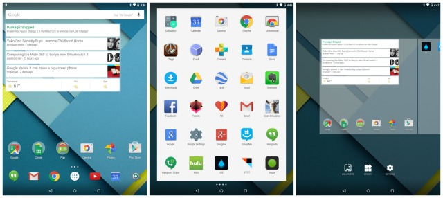 Nexus 9 home screen