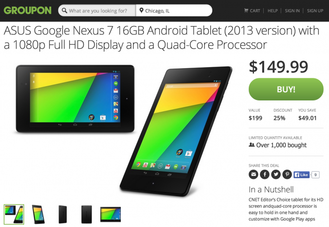 Groupon Nexus 7 2013 deal