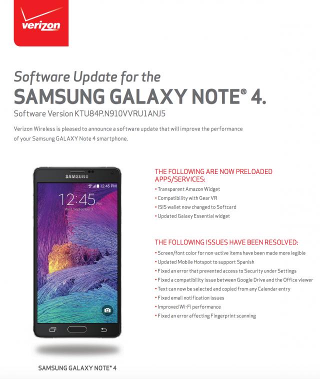 Verizon Samsung Galaxy Note 4 Gear VR update