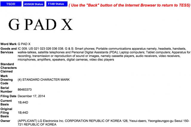 lg g pad x trademark