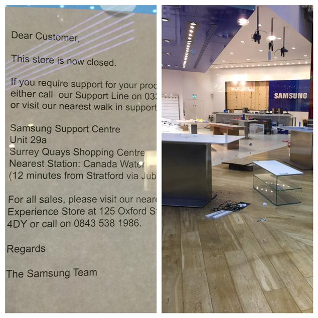 samsung experience store closed