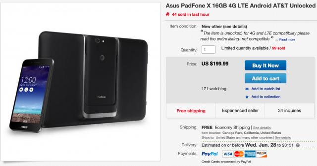ASUS PadFone X AT&T DEALS