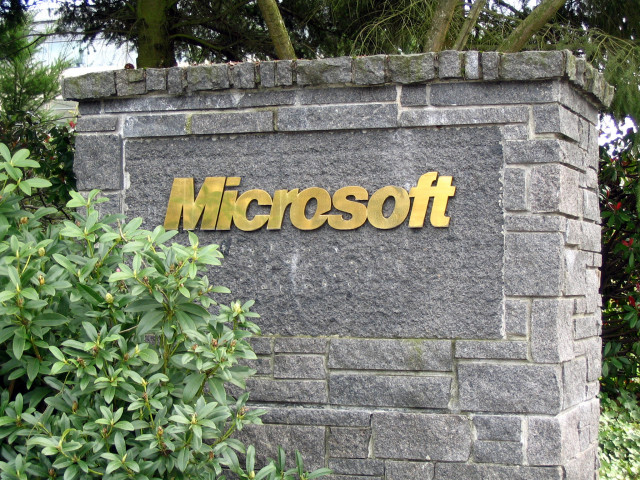 microsoft logo building sign open