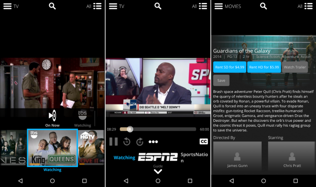 sling tv screens