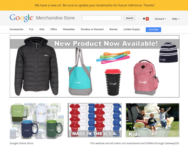 Google Merchandise Store new URL