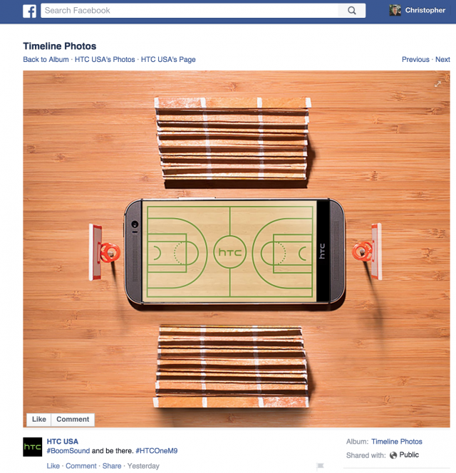 HTC One M9 Facebook post
