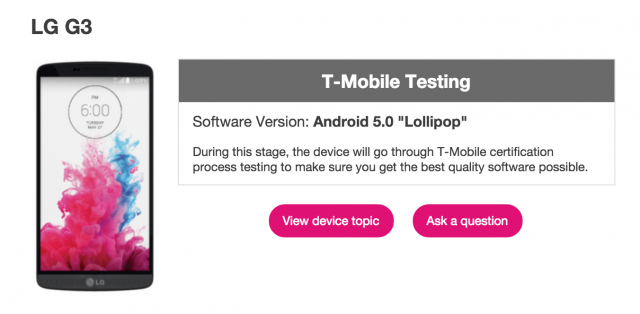 T-Mobile LG G3 Lollipop