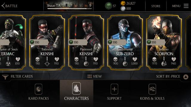 Mortal Kombat X character cards