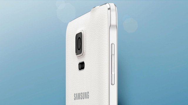 Samsung Galaxy Note 4 back angled half