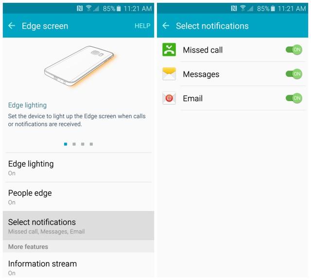 Samsung Galaxy S6 Edge screen notifications