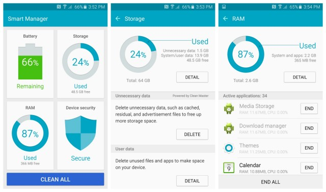 Samsung Galaxy S6 Smart Manager app