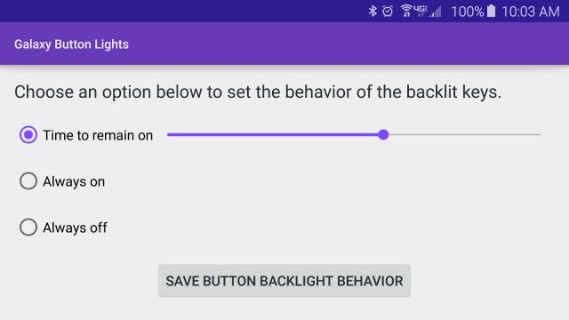 Samsung Galaxy S6 Touchlight keys duration app