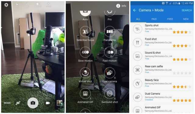 Samsung Galaxy S6 camera modes
