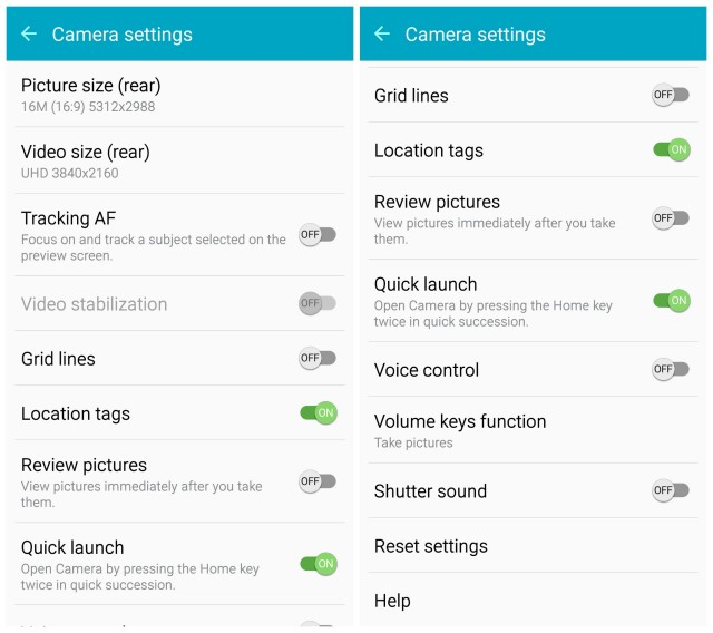 Samsung Galaxy S6 camera settings