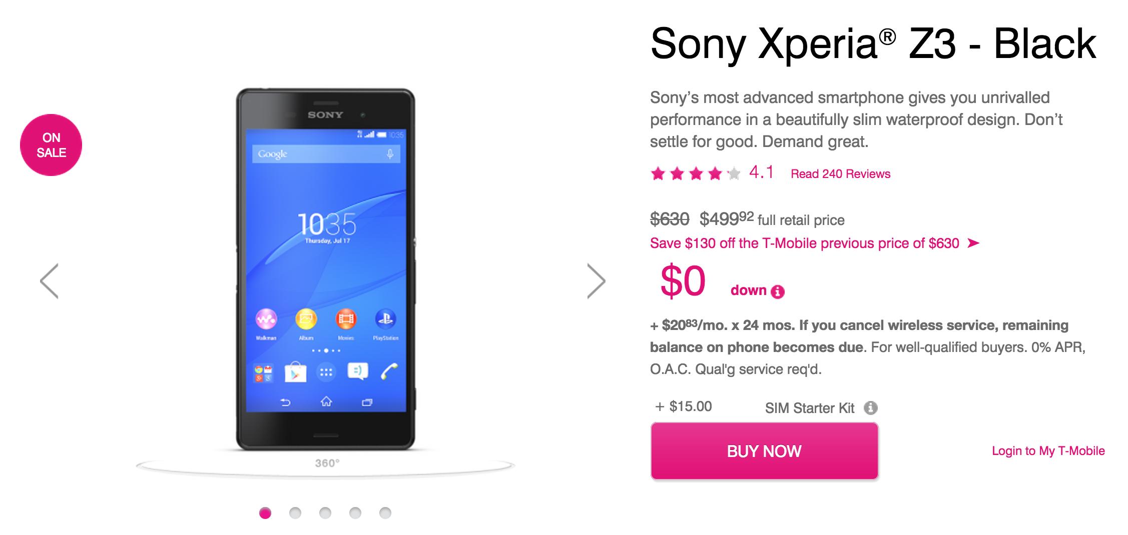 Xperia Z3 T Mobile Sony Xperia Z3 r...