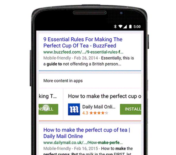 google app indexing apps result