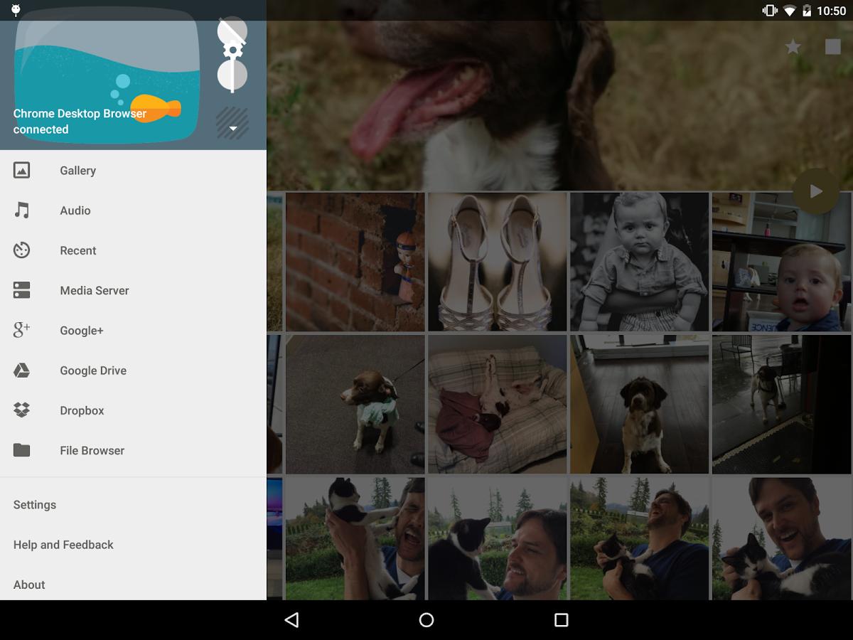 AllCast tablet UI
