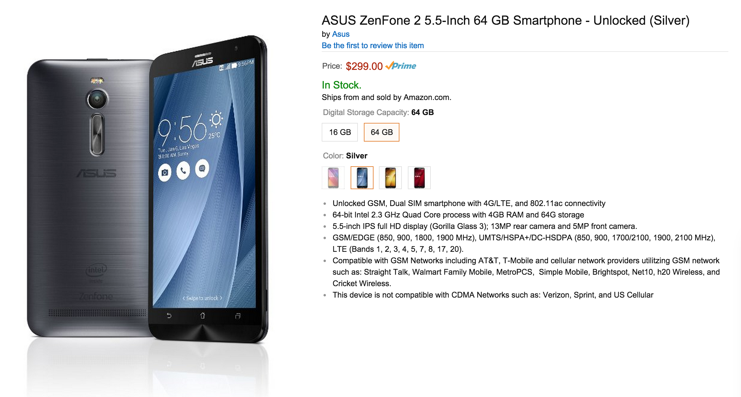 ASUS ZenFone 2 already available on Amazon for only $199