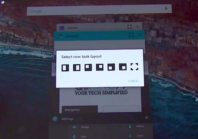 Android M multi-window layout select