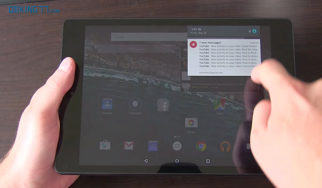 Android M tablet notification shade