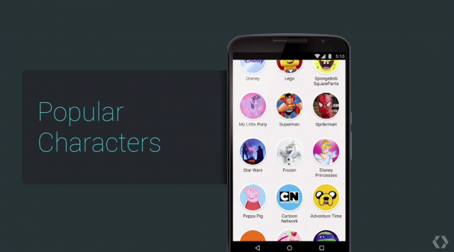 Google Play Store Popular Character browser