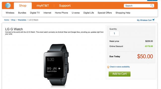 LG G Watch sale 50 dollars