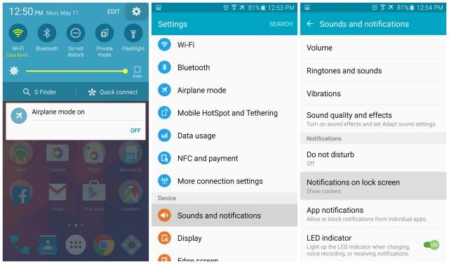 Samsung Galaxy S6 lock screen notifications