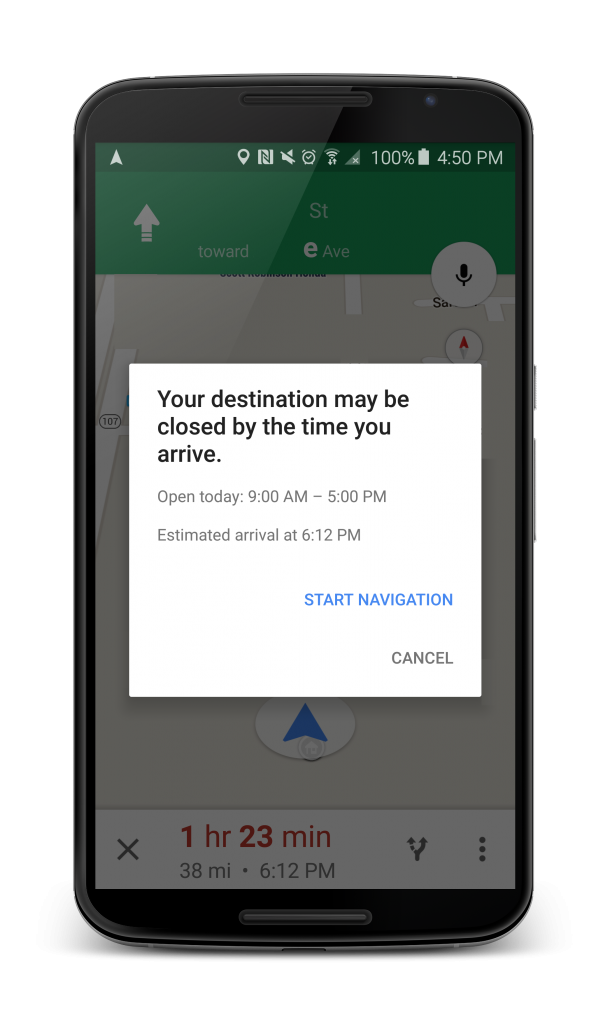 Google Maps business hours notification navigation
