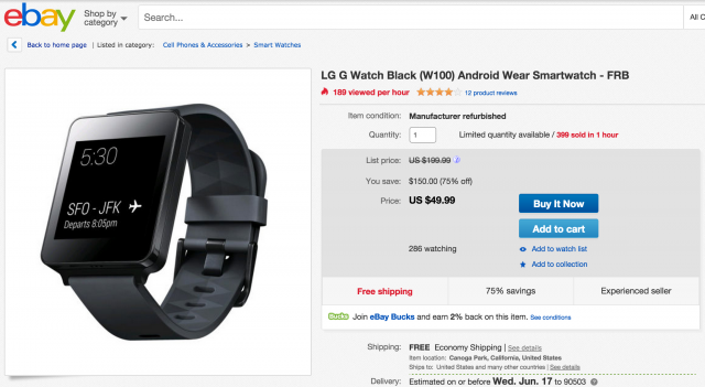 LG G Watch refurb sale