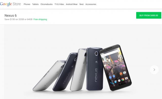Nexus 6 $150 off Google Store promo