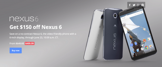 Nexus 6 sale 150 off