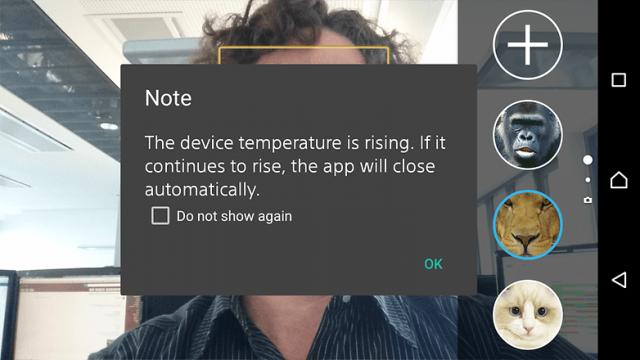 Sony Xperia Z3 Plus camera app crash overheating