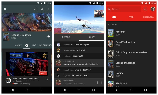 YouTube Gaming Android screen shots